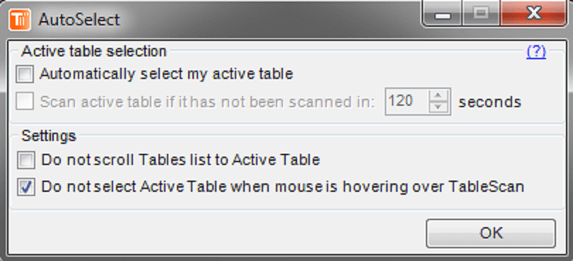 TableScan Turbo - AutoSelect