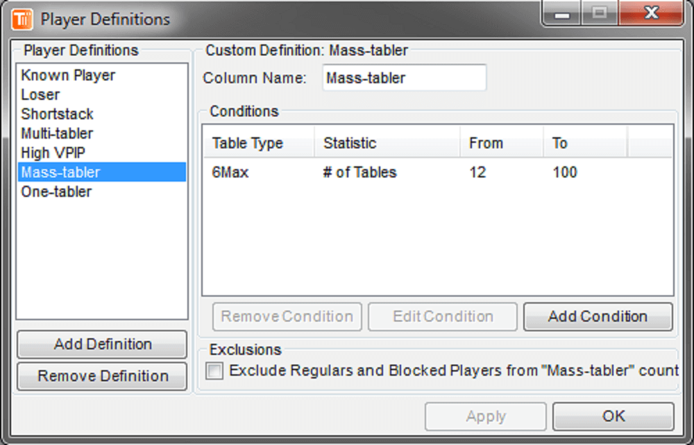 TableScan Turbo-Player Definitions