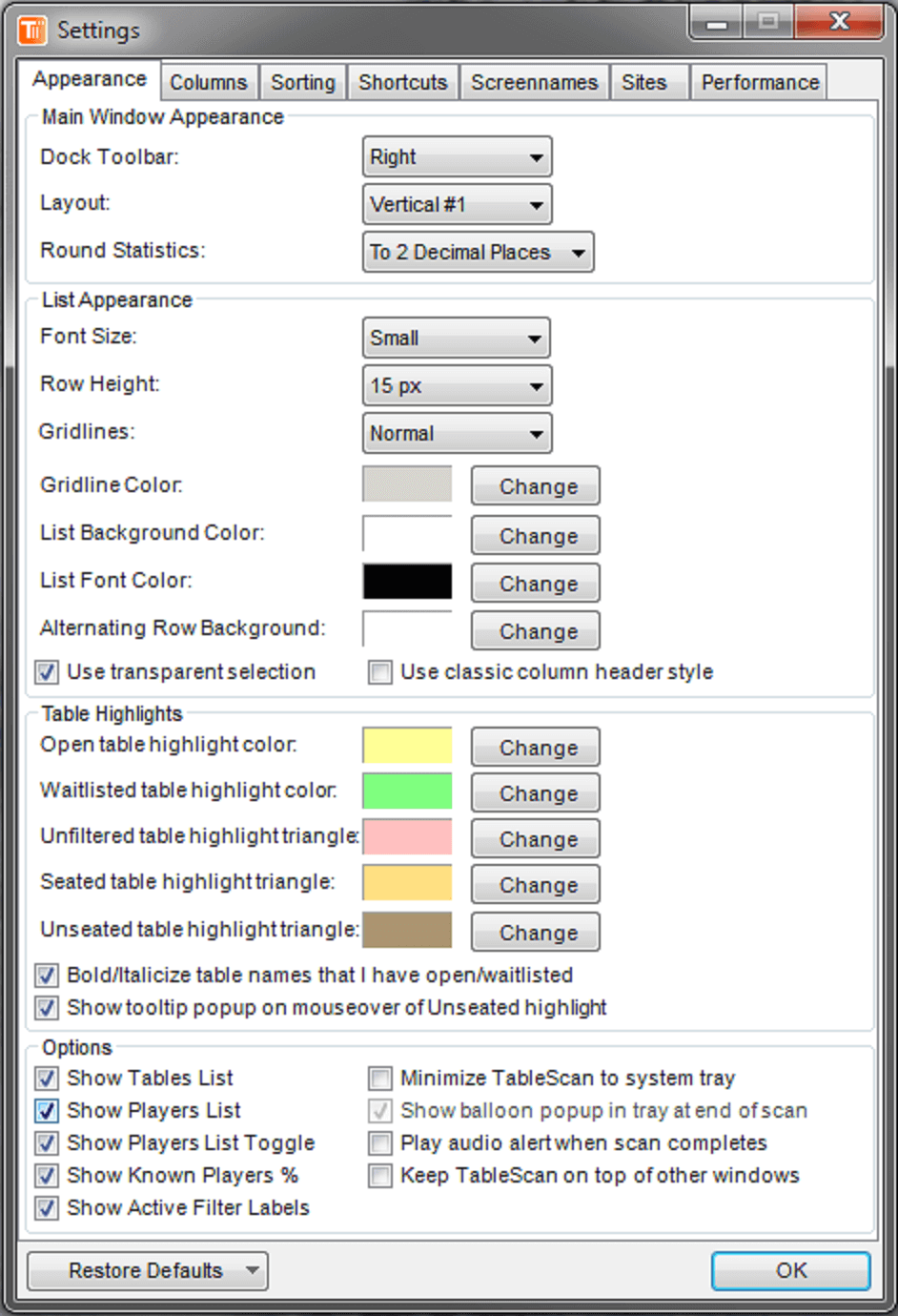 TableScan Turbo - Settings1