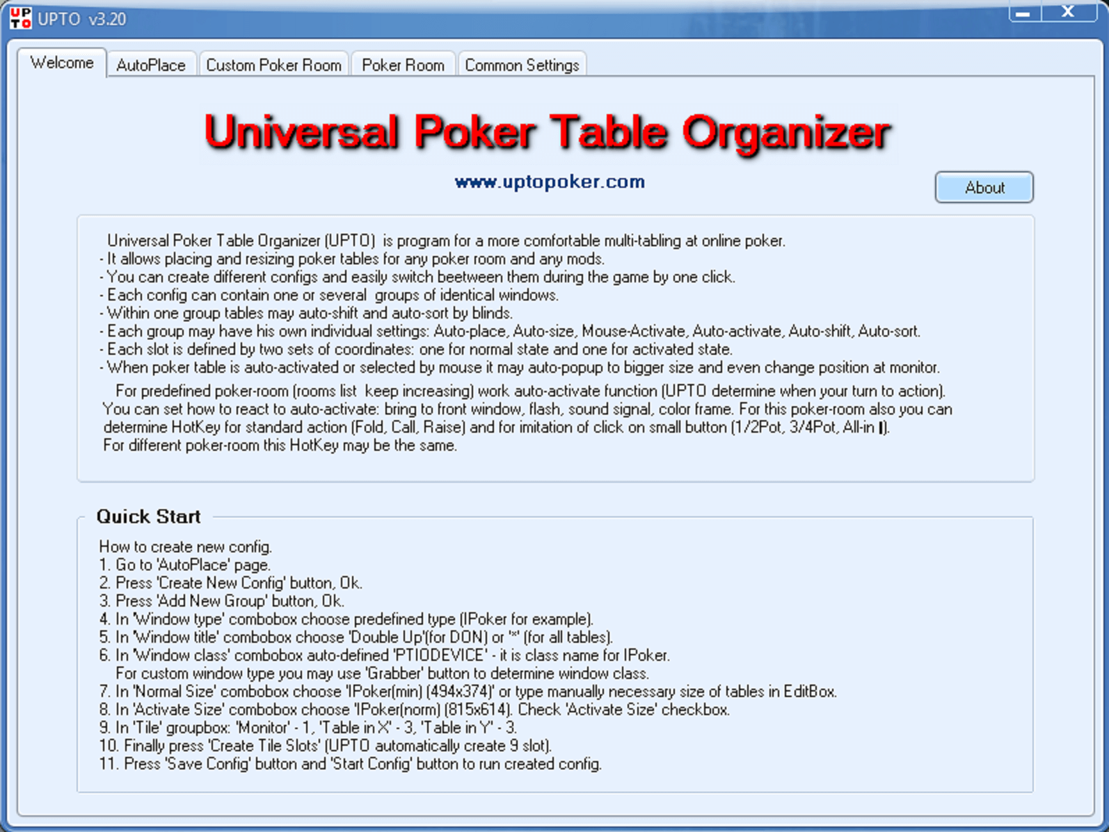 universal Poker Table Organizer(UPTO) - Welcome